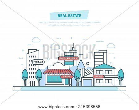 Real estate business concept with houses. Working, real estate contract deals. Business and commercial property investment. Buying, selling houses. Illustration thin line design of vector doodles.