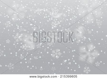 Vector heavy snowfall snowflakes in different shapes and forms. Many white cold snowflake elements, swirls on transparent background. White snowflakes flying in the air. Snow, snowflakes background, vector.