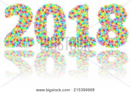 2018 digits composed of colorful glass flowers on glossy white background. High resolution 3D image
