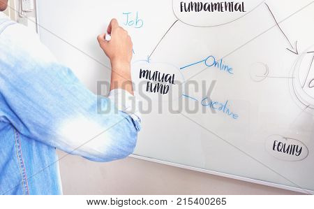 men are writing a plan on a white board have message about the mutual fund and equity. To present to the team.