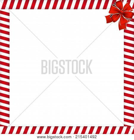 Christmas Or New Year Frame With Red And White Lollipop Pattern And Red Festive Bow.