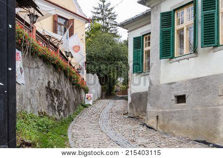 Sighisoara Romania October 08 2017 : Ladder Street in the castle of old city. Sighisoara city in Romania