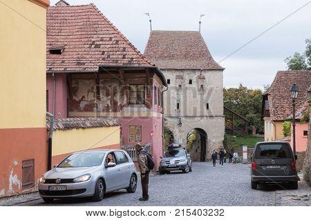 Sighisoara Romania October 08 2017 : Street Wall of the Citadel in the old city of Sighisoara in Romania