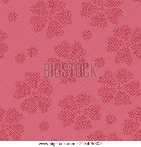 Japanese Shibori ornament. Stylised sakura flowers. Abstract pink backdrop. Classic japanese dyeing technique. Pattern fills. For decoration or printing on fabric.