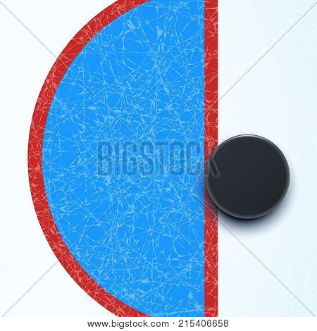 illustration of hockey puck behind the color line on hockey rink surface