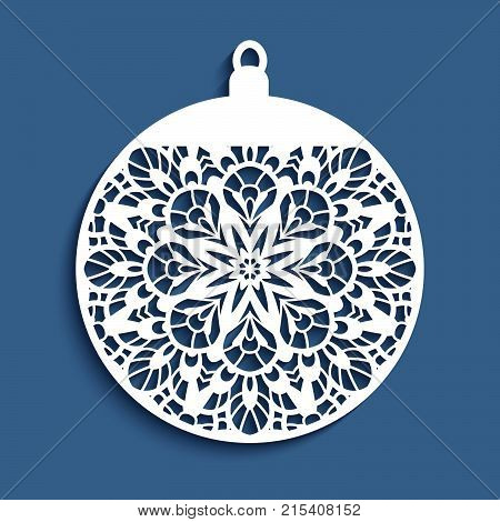 Ornamental Christmas ball, cutout paper vector decoration, filigree template for laser cutting or wood carving