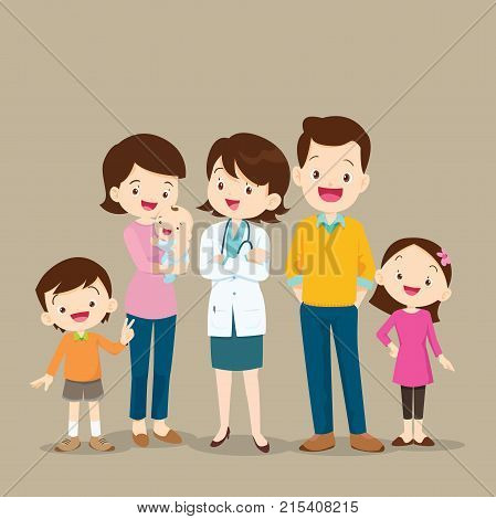 Woman Doctor And Cute Family With Baby