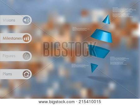 3D illustration infographic template with motif of two spike cone divided to four blue parts askew arranged with simple sign and sample text on side in bars. Blurred photo is used as background.