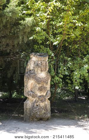 Ancient Kurgan Stelae In The Zoological Garden Of The National Reserve Askania-nova, Ukraine, Stone