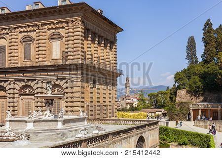 Florence Italy - April 08 2017: Palazzo Pitti and the fountain view of Florence from the Boboli Gardens