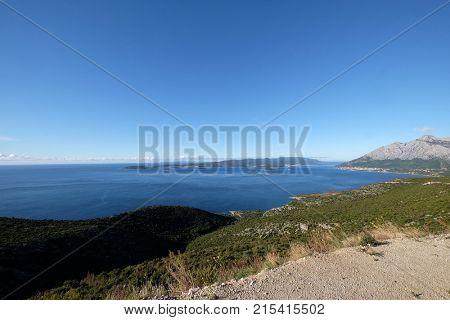 KORCULA, CROATIA - NOVEMBER 09: Island an city of Korcula in Croatia, landscape with the Adriatic sea in Croatia on November 09, 2016.