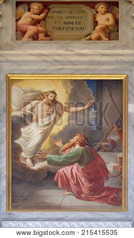 ROME, ITALY - SEPTEMBER 05: The fresco with the image of the life of St. Paul: Jesus Gives His Assurances, basilica of Saint Paul Outside the Walls, Rome, Italy on September 05, 2016.