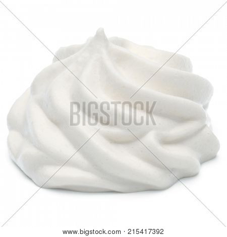 Whipped cream swirl  isolated on white background cutout
