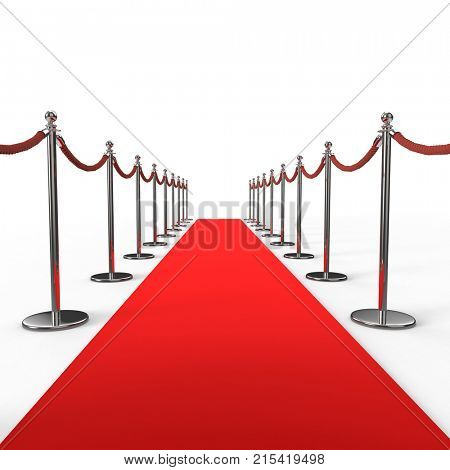 Red carpet background with barrier stanchion rope. 3D illustration.