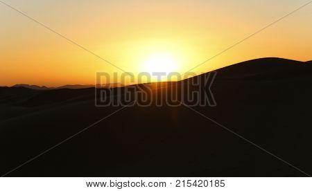 sahara desert dunes at sunset, in Morocco
