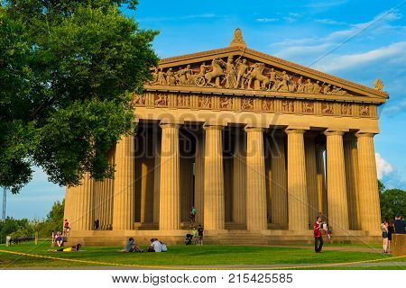 NASHVILLE TN - AUGUST 20 2017: Built in 1897 for Tennessee's Centennial Exposition this full-scale replica of the ancient Parthenon in Athens is a popular gathering place in the city's Centennial Park.