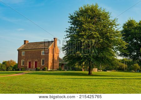 GOODLETTSVILLE TN - AUGUST 22 2017: The Bowen Plantation House in Moss Wright Park of this Nashville suburb dates to around 1787 and is a careful restoration with more than 70 percent original material.
