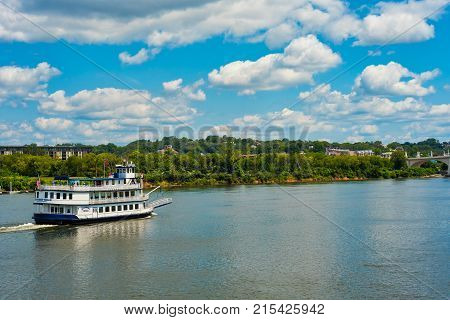 CHATTANOOGA TN - AUGUST 23 2017: The Southern Belle an old-time riverboat is popular for sightseeing excursions up and down the Tennessee River.