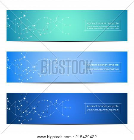 Set of abstract banner design, dna molecule structure background. Geometric graphics and connected lines with dots. Scientific and technological concept, vector illustration.