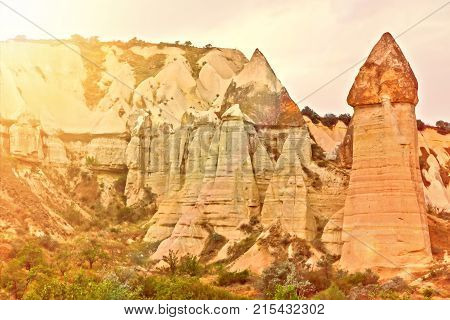 Love Valley Volcanic Mountain Landscape In Cappadocia, Turkey