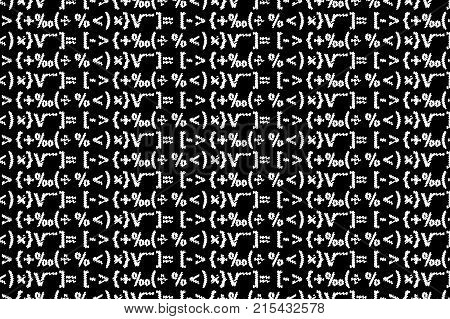 Mathematical symbols - black and white - vector pattern
