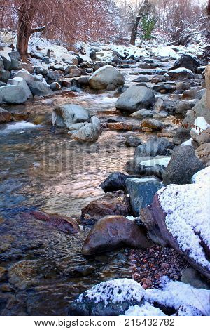 Icy waters of Grizzly Creek in the White River National Forest of Colorado