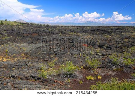 Otherworldly volcanic landscape at Craters of the Moon National Monument of Idaho