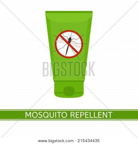 Vector illustration of mosquito repellent cream isolated on white background in flat style. Plastic tube with stop sign. Outdoor protection repelling flying insects.