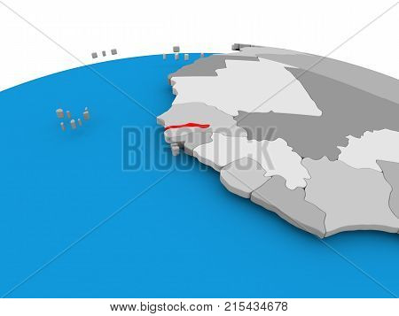 Gambia On Political Globe