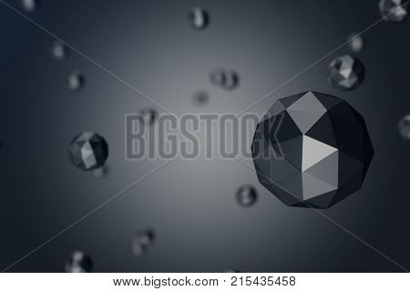 3D Illustration Abstract Background of low polygonal sphere with bokeh effects. Polygonal sphere in black background space. Futuristic Bacgkround for your design