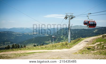 Cableway and cable car in mountains, Adjara, Georgia