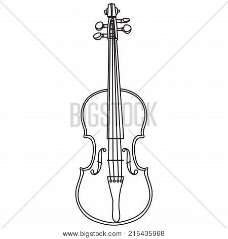 Violin line style isolated on white background. Violin vector illustration.