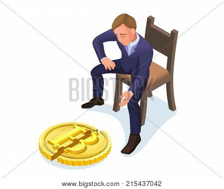 Businessman with fallen bitcoin, 3d isometric vector illustration with man and cryptocurrency symbol, financial crisis concept, money fail