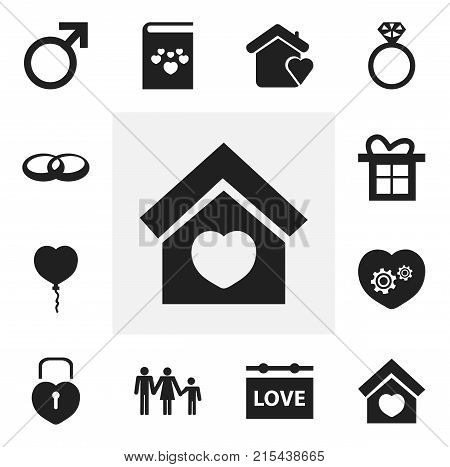 Set Of 12 Editable Heart Icons. Includes Symbols Such As Gift, Locked Heart, Lineage And More