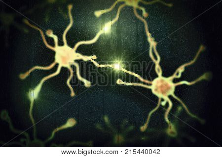 Dementia conceptual image, 3D illustration showing blurred neurons behind wet glass window