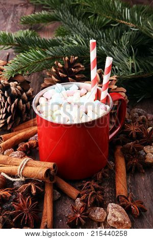 Enamel cup of hot cocoa with marshmallows and candy canes. Could also be coffee. Perfect winter time treat