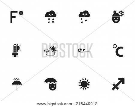 Set Of 12 Editable Air Icons. Includes Symbols Such As Overcast Weather, Winter Parasol, Celcius Degree And More