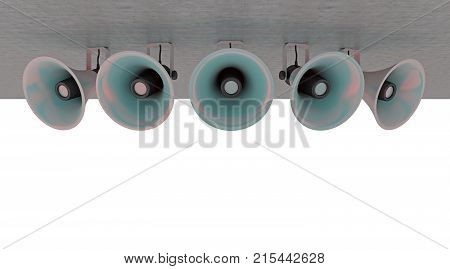 group of loudspeakers arround isolated on white. 3d rendering