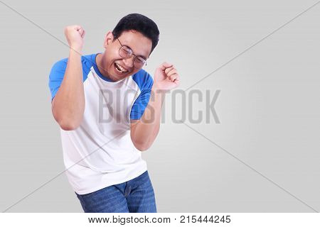 Happy Funny Asian Man Dancing Full Of Joy