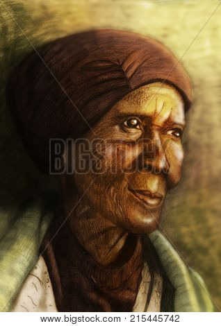Digitally coloured pencil illustration of old african woman staring into the distance
