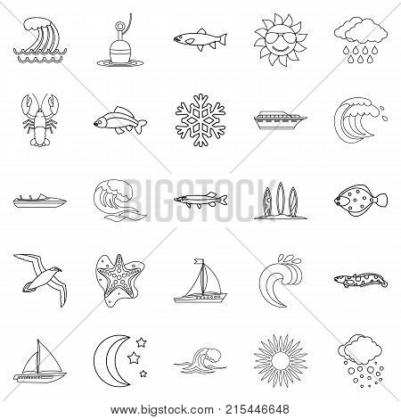 Fluid icons set. Outline set of 25 fluid vector icons for web isolated on white background