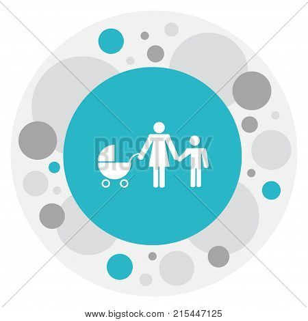 Vector Illustration Of Kin Symbol On Baby Stroller Icon