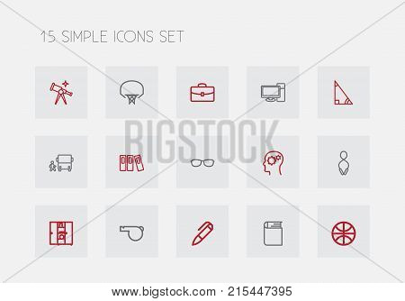 Set Of 15 Editable Teach Outline Icons. Includes Symbols Such As Encyclopedia, Scope, Gear And More
