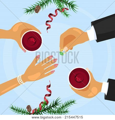 Christmas celebration and betrothal ring. Xmas amorous dating theme top view. Vector illustration eps 10