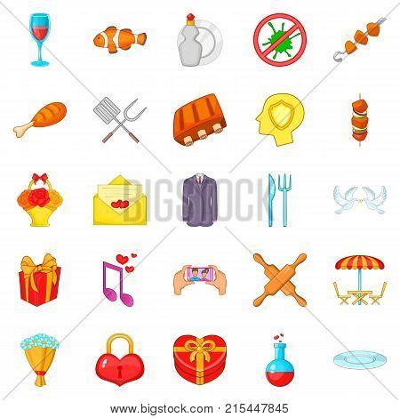 Glad icons set. Cartoon set of 25 glad vector icons for web isolated on white background