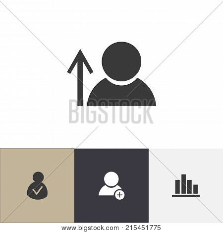 Set Of 4 Editable Global Icons. Includes Symbols Such As New Friend, Access Allowed, Avatar And More
