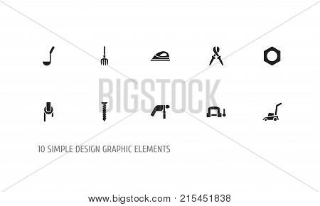Set Of 10 Editable Equipment Icons. Includes Symbols Such As Appliance, Drill, Sheave And More