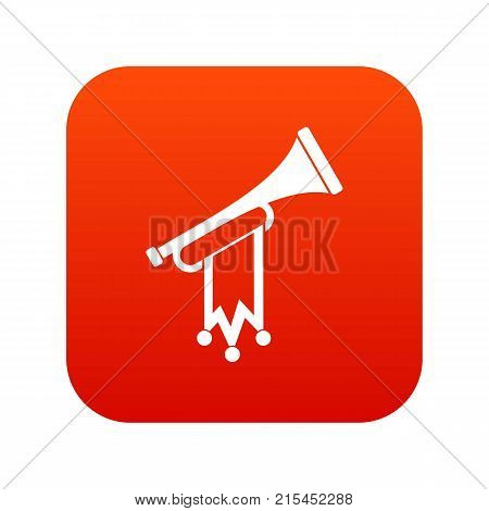 Trumpet with flag icon digital red for any design isolated on white vector illustration