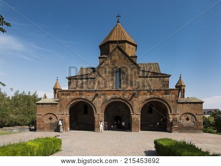 Facade of the Church with a three-nave domed Basilica of St. Gayane in Echmiadzin Armenia