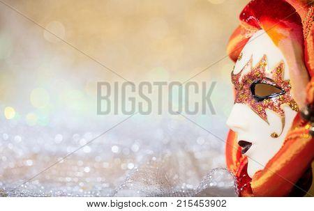Carnival Mask On Bokeh Background